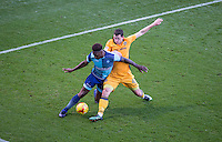 Aaron Williams of Newport County tackles Anthony Stewart of Wycombe Wanderers during the Sky Bet League 2 match between Wycombe Wanderers and Newport County at Adams Park, High Wycombe, England on 2 January 2017. Photo by Andy Rowland.