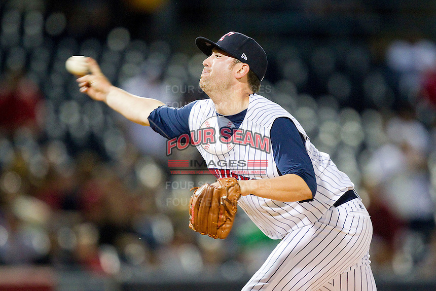 Toledo Mudhens relief pitcher Robbie Weinhardt (34) in action against the Charlotte Knights at 5/3 Field on May 3, 2013 in Toledo, Ohio.  The Knights defeated the Mudhens 10-2.  (Brian Westerholt/Four Seam Images)