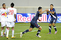 Alejandro Guido (10) of the USA celebrates scoring. The USMNT U-17 defeated New York Red Bulls U-18 4-1 during a friendly at Red Bull Arena in Harrison, NJ, on October 09, 2010.