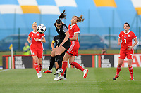 Anna Green of New Zealand Women's vies for possession with Kayleigh Green of Wales Women's' during the Women's International Friendly match between Wales and New Zealand at the Cardiff International Sports Stadium in Cardiff, Wales, UK. Tuesday 04 June, 2019
