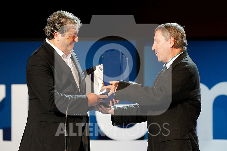 Tripictures CEO, Felipe Ortiz (l) receives FIPRESCI Award for the movie 'The Tree of Life' during the Opening Gala of the 59th San Sebastian Donostia International Film Festival - Zinemaldia.September 16,2011.(ALTERPHOTOS/Acero)