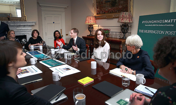 17 February 2016 - London, England - Kate Duchess of Cambridge Catherine Katherine Middleton talks to Steven Hull (Editor in Chief Huff Post UK) on the Huffington Post landing page in the 'News Room' at Kensington Palace in London. The Duchess of Cambridge is supporting the launch of the Huffington Post UK's initiative 'Young Minds Matter' by guest editing the Huffington Post UK today from Kensington Palace. Photo Credit: Alpha Press/AdMedia