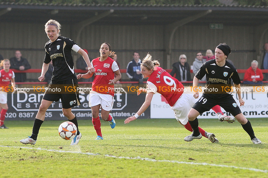 Ellen White goes close to a goal for Arsenal - Arsenal Ladies vs Gothenburg - UEFA Womens Champions League Quarter-Final 1st Leg at Boreham Wood FC - 14/03/12 - MANDATORY CREDIT: Gavin Ellis/TGSPHOTO - Self billing applies where appropriate - 0845 094 6026 - contact@tgsphoto.co.uk - NO UNPAID USE.