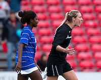 Meghan Thomas (17) of Duke celebrates the win at Ludwig Field on the campus of the University of Maryland in College Park, MD. DC. Duke defeated Maryland, 2-1.