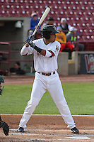 Wisconsin Timber Rattlers outfielder Elvis Rubio (17) at bat during a Midwest League game against the Beloit Snappers on May 30th, 2015 at Fox Cities Stadium in Appleton, Wisconsin. Wisconsin defeated Beloit 5-3 in the completion of a game originally started on May 29th before being suspended by rain with the score tied 3-3 in the sixth inning. (Brad Krause/Four Seam Images)