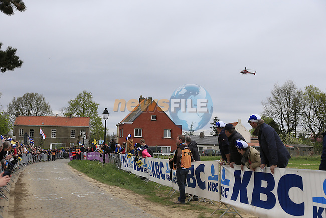 Fans wait on the Oude Kwaremont during the 2014 Tour of Flanders, Belgium.<br /> Picture: Eoin Clarke www.newsfile.ie