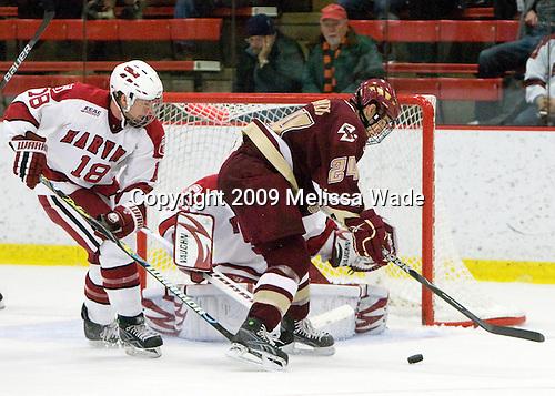 Sam Bozoian (Harvard - 18), Matt Lombardi (BC - 24) - The Boston College Eagles defeated the Harvard University Crimson 3-2 on Wednesday, December 9, 2009, at Bright Hockey Center in Cambridge, Massachusetts.