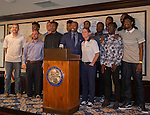 Coach Musselman and the Nevada basketball team pose with Kenny Smith during the 48th Annual Nevada Athletics Governor's Dinner at the Governor's Mansion  in Carson City on  Friday, July 8, 2016.