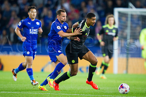 20.09.2016. King Power Stadium, Leicester, England. Football League Cup Football. Leicester City versus Chelsea. Danny Drinkwater of Leicester City attempts to pull back Ruben Loftus-Cheek of Chelsea.
