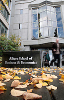 10212009-The exterior of Pigott and the Albers School of Business and Economics on a fall day.