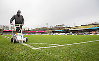 General view of the pitch while groundsman works on the lines during the Sky Bet League 2 match between Wycombe Wanderers and Yeovil Town at Adams Park, High Wycombe, England on 14 January 2017. Photo by Andy Rowland / PRiME Media Images.