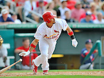 8 March 2012: St. Louis Cardinals' infielder Rafael Furcal in action during a Spring Training game against the Boston Red Sox at Roger Dean Stadium in Jupiter, Florida. The Cardinals defeated the Red Sox 9-3 in Grapefruit League action. Mandatory Credit: Ed Wolfstein Photo