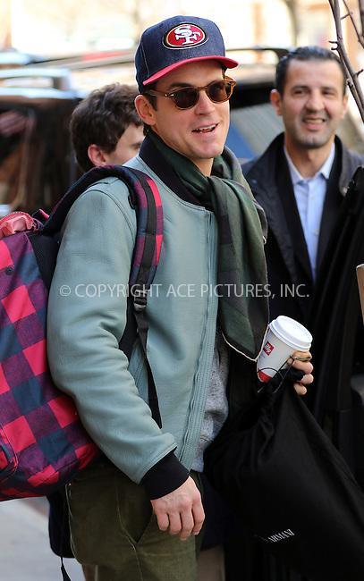 WWW.ACEPIXS.COM<br /> <br /> April 1 2015, New York City<br /> <br /> Actor Matt Bomer arrives at a downtown hotel on April 1 2015 in New York City<br /> <br /> <br /> By Line: Zelig Shaul/ACE Pictures<br /> <br /> <br /> ACE Pictures, Inc.<br /> tel: 646 769 0430<br /> Email: info@acepixs.com<br /> www.acepixs.com