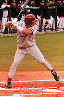 NASHVILLE, TENNESSEE-Feb. 25, 2011:  Tyler Gaffney of Stanford prepares to hit against Sonny Gray of Vanderbilt, during a game at Vanderbilt University in Nashville, Tennessee.  Vanderbilt defeated Stanford 2-1.