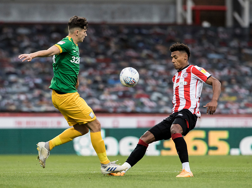 Preston North End's Jordan Storey competing with Brentford's Ollie Watkins (right) <br /> <br /> Photographer Andrew Kearns/CameraSport<br /> <br /> The EFL Sky Bet Championship - Brentford v Preston North End - Wednesday 15th July 2020 - Griffin Park - Brentford <br /> <br /> World Copyright © 2020 CameraSport. All rights reserved. 43 Linden Ave. Countesthorpe. Leicester. England. LE8 5PG - Tel: +44 (0) 116 277 4147 - admin@camerasport.com - www.camerasport.com