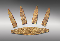 Gold Mycenaean diadem with leaf shaped plates from Grave I, Grave Circle A, Myenae, Greece. National Archaeological Museum Athens. Cat No 184, 185. 16th century BC.  Grey Background