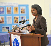 Washington, DC - May 3, 2009 -- Former United States Secretary of State Condoleezza Rice speaks to 4th, 5th, and 6th Grade students at the Jewish Primary Day School (JPDS) of the Nation's Capital in Washington, D.C. on Sunday, May 3, 2009..Credit: Ron Sachs / CNP