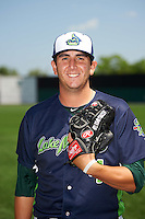 Vermont Lake Monsters pitcher Brendan Butler (4) poses for a photo before a game against the Auburn Doubledays on July 13, 2016 at Falcon Park in Auburn, New York.  Auburn defeated Vermont 8-4.  (Mike Janes/Four Seam Images)