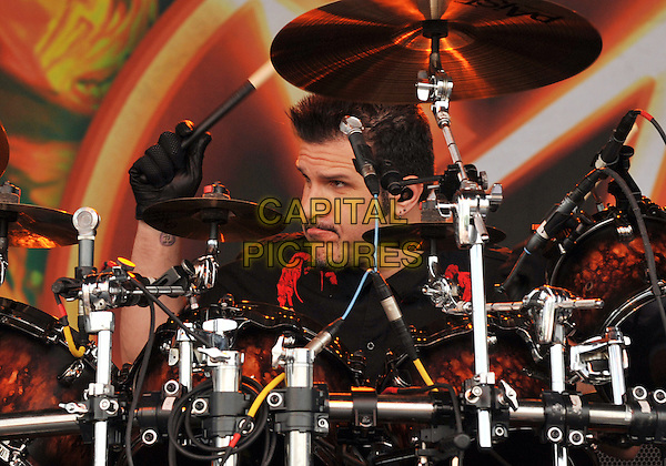"Drummer CHARLIE BENANTE of the thrash metal band ANTHRAX performs at Day 2 of the  'Rock On The Range Festival"" held at Crew Stadium, Columbus, OH., USA..May 20th, 2012      .on stage in concert live gig performance performing music headshot portrait drums             .CAP/ADM/JN.©Jason L Nelson/AdMedia/Capital Pictures."