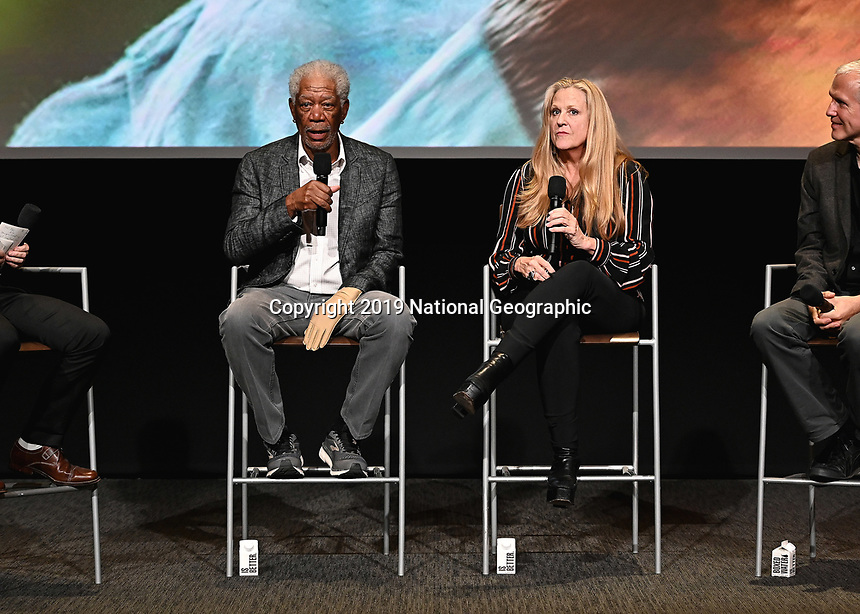"LOS ANGELES - JUNE 5:  Morgan Freeman and Lori McCreary attend an FYC event for National Geographic's ""The Story of God"" at the TV Academy on June 5, 2019 in Los Angeles, California. (Photo by Scott Kirkland/National Geographic/PictureGroup)"