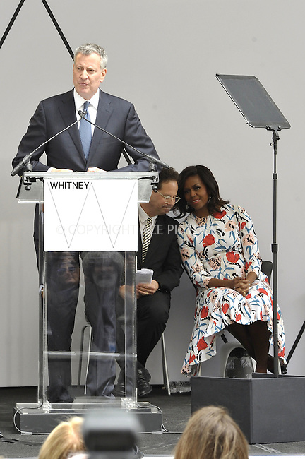 WWW.ACEPIXS.COM<br /> <br /> April 30 2015, New York City<br /> <br /> First Lady Michelle Obama and New York Mayor Bill Deblasio attended a dedication ceremony at the new Whitney Museum of American Art which has relocated from the Upper East Side to the Meatpacking District on April 30 2015 in New York City<br /> <br /> Please byline: Curtis Means/ACE Pictures<br /> <br /> ACE Pictures, Inc.<br /> www.acepixs.com, Email: info@acepixs.com<br /> Tel: 646 769 0430