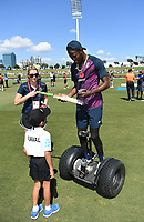 21st November 2019; Mt Maunganui, New Zealand;  Jofra Archer with the ANZ coin toss competition winner.<br />