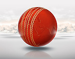 Illustrative image of cricket ball with globe on it representing world cup