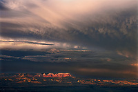 730750199 a summer thunderstorm breaks over the aquarius plateau and bryce canyon national park utah in this view from bryce point lookout