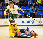 ROTTERDAM  - NK Nacompetitie Zaalhockey . Nick van Trigt (R'dam) met de keeper van KZ.     COPYRIGHT KOEN SUYK
