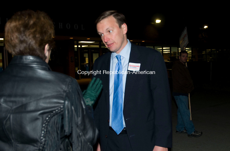 WATERBURY, CT-02 NOVEMBER, 2010-110210S01-Rep. Christopher S. Murphy, D-5th District talks with voters outside Crosby High School in Waterbury on Tuesday. Murphy is being challenged by Sen. Sam S.F. Caligiuri, R-Waterbury.<br /> Jim Shannon Republican-American