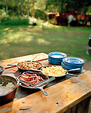 USA, Montana, food served during a breakfast horseback ride, Mountain Sky Guest Ranch