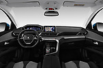 Stock photo of straight dashboard view of a 2017 Peugeot 5008 GT Line 5 Door SUV