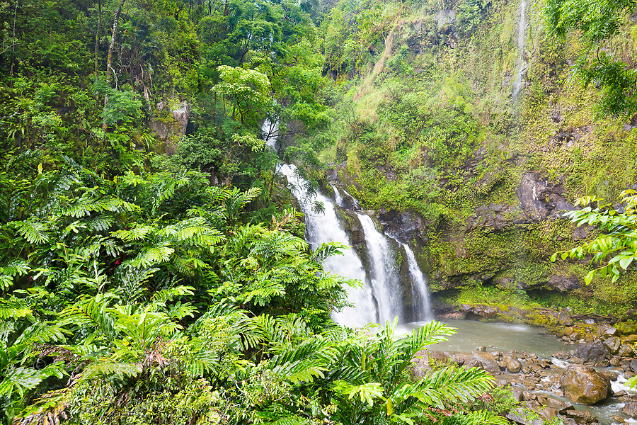 One of many roadside waterfalls on the road to Hana, Maui, Hawaii.