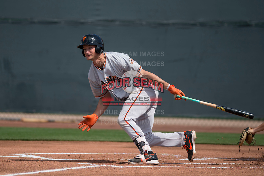 San Francisco Giants third baseman Jacob Gonzalez (41) follows through on his swing during a Minor League Spring Training game against the Cleveland Indians at the San Francisco Giants Training Complex on March 14, 2018 in Scottsdale, Arizona. (Zachary Lucy/Four Seam Images)