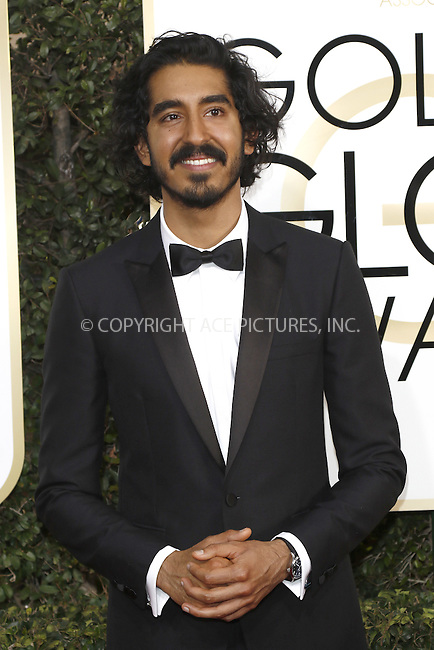www.acepixs.com<br /> <br /> January 8 2017, LA<br /> <br /> Dev Patel arriving at the 74th Annual Golden Globe Awards at the Beverly Hilton Hotel on January 8, 2017 in Beverly Hills, California.<br /> <br /> By Line: Famous/ACE Pictures<br /> <br /> <br /> ACE Pictures Inc<br /> Tel: 6467670430<br /> Email: info@acepixs.com<br /> www.acepixs.com