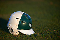 Farmingdale State Rams helmet sits in the grass after the second game of a doubleheader against the FDU-Florham Devils on March 15, 2017 at Lake Myrtle Park in Auburndale, Florida.  FDU-Florham defeated Farmingdale 8-4.  (Mike Janes/Four Seam Images)
