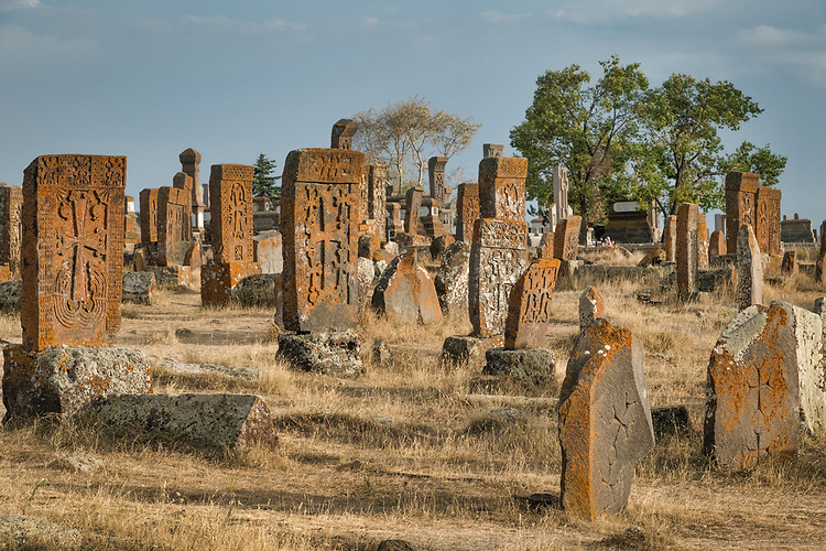 Noratus cemetery, also spelled Noraduz, is a medieval cemetery with a large number of early khachkars, which are Armenian cross-stones. The majority of khachkars of Noraduz cemetery are from the 13th–17th centuries.