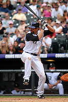 04 May 2008: Colorado Rockies 1st baseman Todd Helton bats against the Los Angeles Dodgers on May 4, 2008 at Coors Field in Denver, Colorado. The Rockies defeated the Dodgers 7-2.