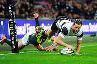 Luke Morahan of the Barbarians scores a try in the second half. Killik Cup International match, between the Barbarians and South Africa on November 5, 2016 at Wembley Stadium in London, England. Photo by: Patrick Khachfe / JMP