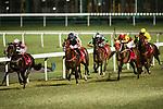 Jockey #8 Umberto Rispoli (C) riding Bank On Red during the race 6 of Hong Kong Racing at Happy Valley Race Course on November 08, 2017 in Hong Kong, China. Photo by Marcio Rodrigo Machado / Power Sport Images