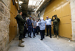 Head of the Palestinian National security forces in Hebron brigadier General Hazem Abu Hanood and head of the Palestinian police brigadier General Ahmad Abu Rob in Hebron visit the old city for the first time since 1994, on July 31, 2018 where Palestinian forces visit the old city in Hebron for one day with uniform and arms. Photo by Wisam Hashlamoun