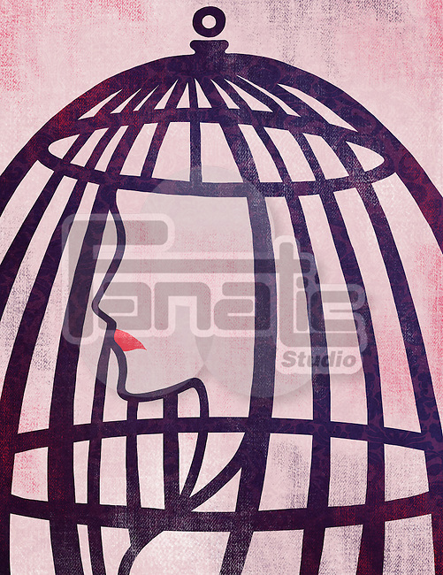 Illustrative image of woman in cage representing bondage