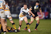 Dan Robson of Wasps passes the ball. Heineken Champions Cup match, between Bath Rugby and Wasps on January 12, 2019 at the Recreation Ground in Bath, England. Photo by: Patrick Khachfe / Onside Images