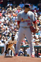 13 April 2008: #14 Fred Lewis of the Giants takes a lead at first base during the San Francisco Giants 7-4 victory over the St. Louis Cardinals at the AT&T Park in San Francisco, CA.