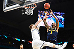 SAN ANTONIO, TX - APRIL 02:  Charles Matthews #1 of the Michigan Wolverines shoots the ball over Donte DiVincenzo #10 of the Villanova Wildcats in the 2018 NCAA Men's Final Four National Championship game at the Alamodome on April 2, 2018 in San Antonio, Texas.  (Photo by Brett Wilhelm/NCAA Photos via Getty Images)