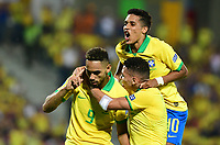 BUCARAMANGA - COLOMBIA, 09-02-2020: Matheus Cameiro Cunha (#9) de Brasil celebra después de anotar el segundo gol de su equipo durante partido entre Argentina U-23 y Brasil U-23 por el cuadrangular final como parte del torneo CONMEBOL Preolímpico Colombia 2020 jugado en el estadio Alfonso Lopez en Bucaramanga, Colombia. / Matheus Cameiro Cunha (#9) of Brazil celebrates after scoring the first goal of his team during match between Argentina U-23 and Brazil U-23 for for the final quadrangular as part of CONMEBOL Pre-Olympic Tournament Colombia 2020 played at Alfonso Lopez stadium in Bucaramanga, Colombia. Photo: VizzorImage / Julian Medina / Cont
