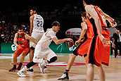 25th March 2018, Madrid, Spain; Endesa Basketball League, Real Madrid versus Valencia; Luka Doncic (Real Madrid Baloncesto) brings the ball foward past Fernando San Emeterio (Valencia Basket)