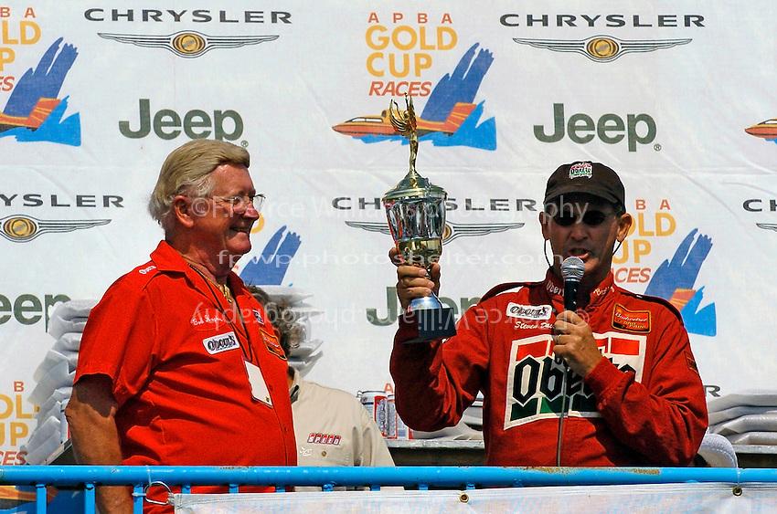 "Bob Hughes and Steve David accept the third place trophy. Steve David, U-6 ""Oh Boy! Oberto"""