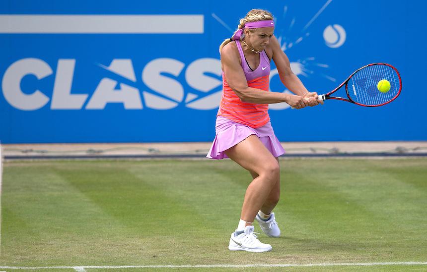 [8] Sabine Lisicki (GER) in action during her victory over Magdalena Rybarikova (SVK) in their Women&rsquo;s Singles Third Round match today - [8] Sabine Lisicki (GER) def Magdalena Rybarikova (SVK) 7-6(7) 6-4<br /> <br /> Photographer Stephen White/CameraSport<br /> <br /> Tennis - WTA International - Aegon  Classic - Day 4 - Thursday 18th June 2015 - Edgbaston Priory Club - Birmingham<br /> <br /> &copy; CameraSport - 43 Linden Ave. Countesthorpe. Leicester. England. LE8 5PG - Tel: +44 (0) 116 277 4147 - admin@camerasport.com - www.camerasport.com