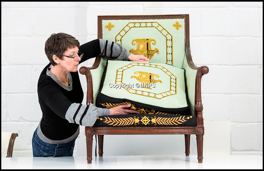 BNPS.co.uk (01202 558833)<br /> Pic: PhilYeomans/BNPS<br /> <br /> Conservator Emma Telford with the restored chair.<br /> <br /> Seat of Power - The First Duke of Marlborough's campaign chairs, upon which he sat to plot the downfall of the French King Louis XIV, are returning to Blenheim Palace following an 18-month restoration.<br />